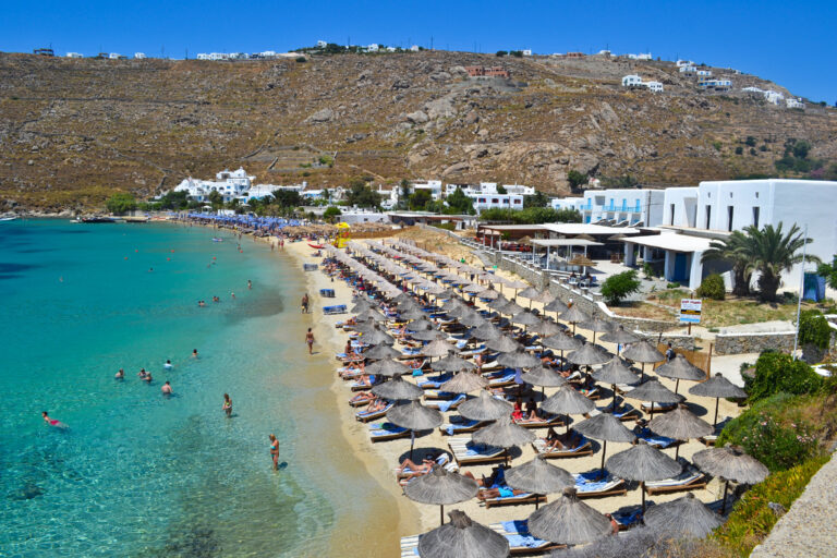 Psarou Beach, Mykonos, Greece.